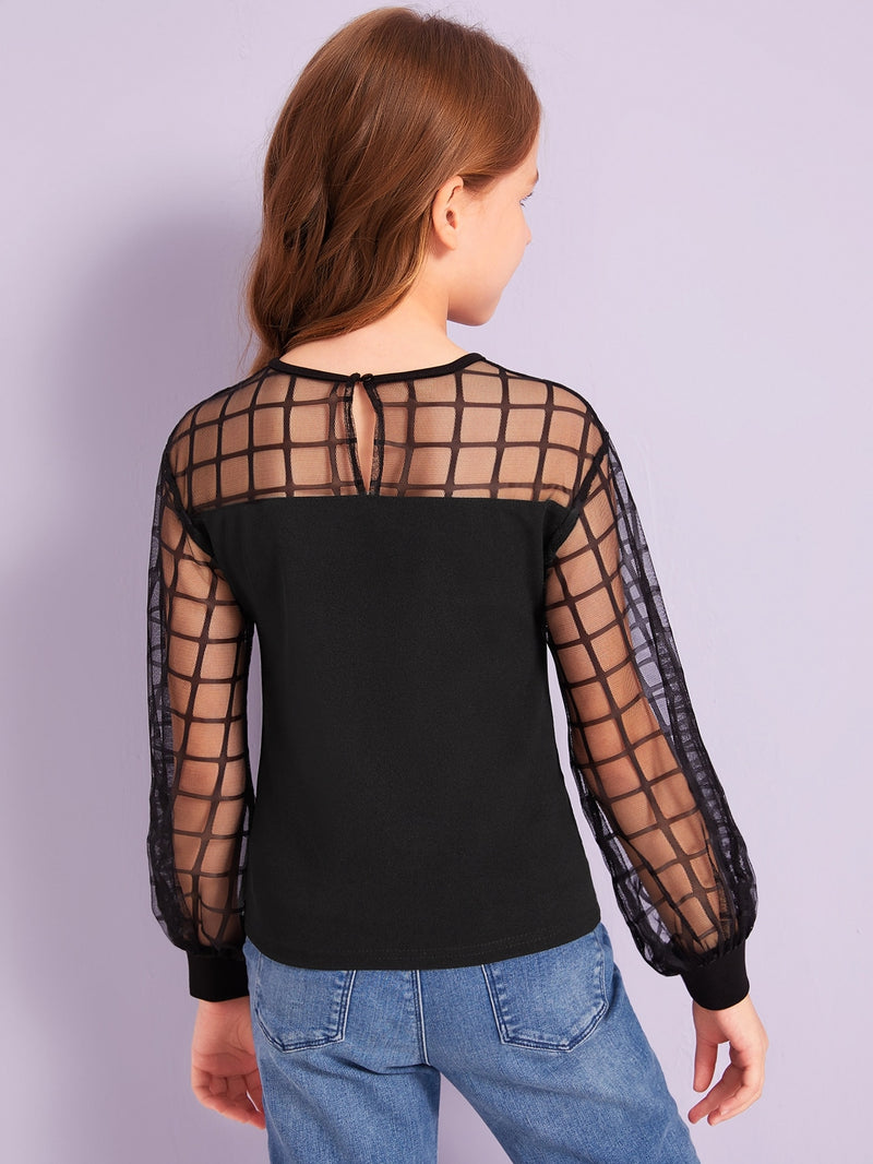 Girls Grid Mesh Shoulder Top
