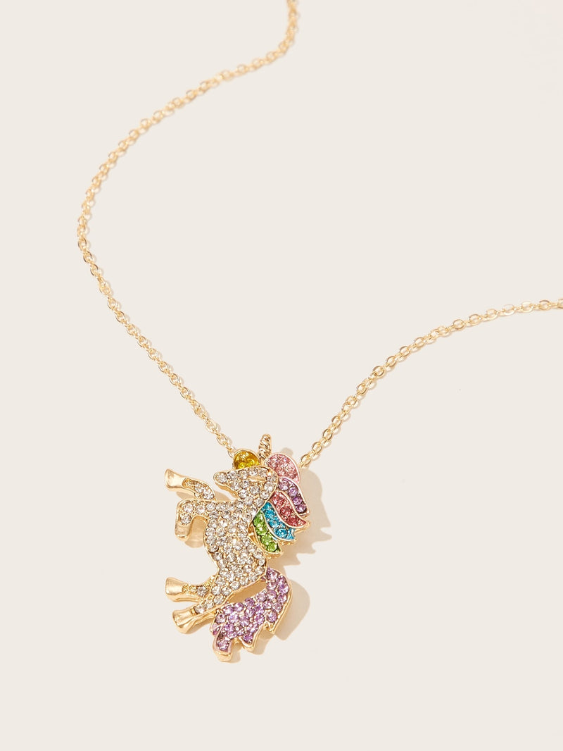 Toddler Kids Rhinestone Engraved Unicorn Pendant Necklace 1pc - FD