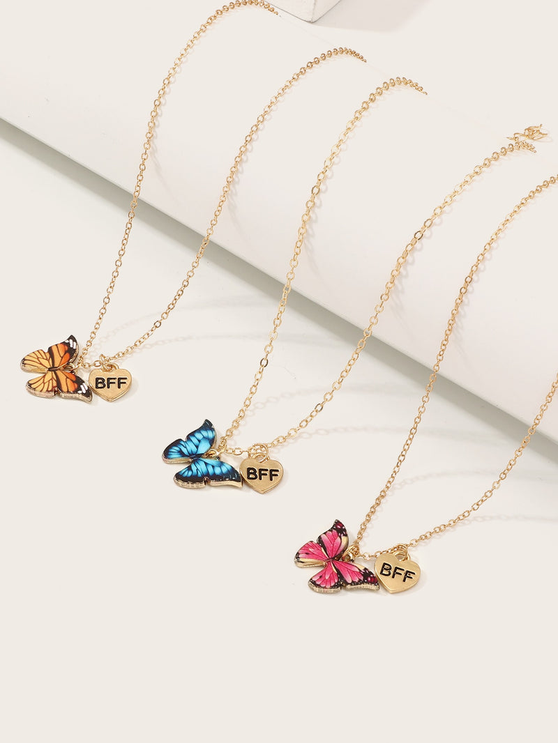 Toddler Girls Butterfly Pendant Necklace 3pcs