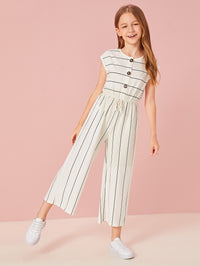 Girls Buttoned Tie Front Wide Leg Striped Jumpsuit