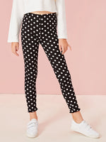 Girls Polka Dot Lettuce Edge Leggings