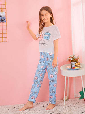 Girls Donut Print Pajama Set