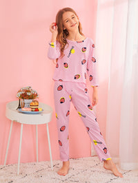 Girls Strawberry Print Pajama Set With Eye Mask