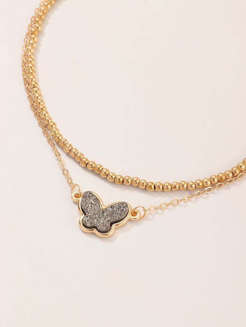 Girls Butterfly Charm Chain Necklace 1pc