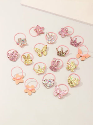 18pcs Toddler Girls Sequin Butterfly & Crown Hair Tie