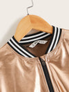 Girls Contrast Striped Trim Metallic Bomber Jacket - FD
