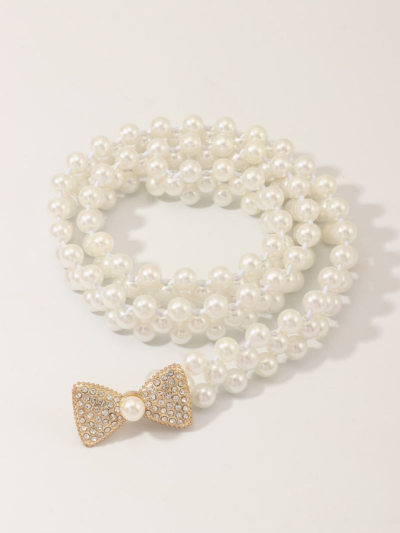 Girls Bow Knot Decor Faux Pearl Beaded Belt