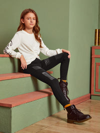 Girls Contrast PU Solid Pants