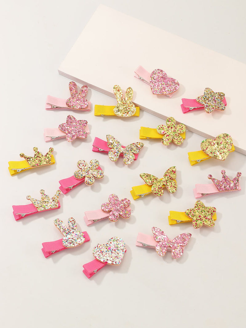 18pcs Toddler Girls Sequin Decor Hair Clip