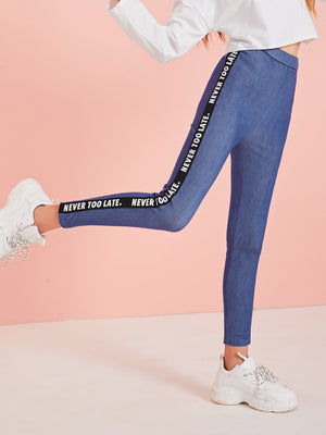 Girls Letter Tape Side Leggings