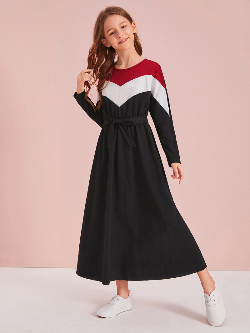 Girls Chevron Colorblock Self Belted Dress
