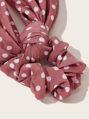 4pcs Girls Polka Dot Pattern Scrunchie Scarf