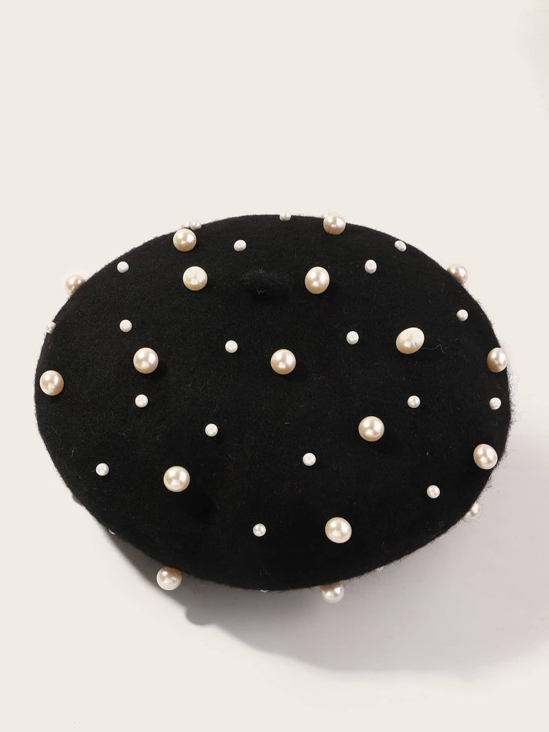 Girls Faux Pearl Decor Berets