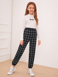 Girls Elastic Waist Grid Carrot Pants