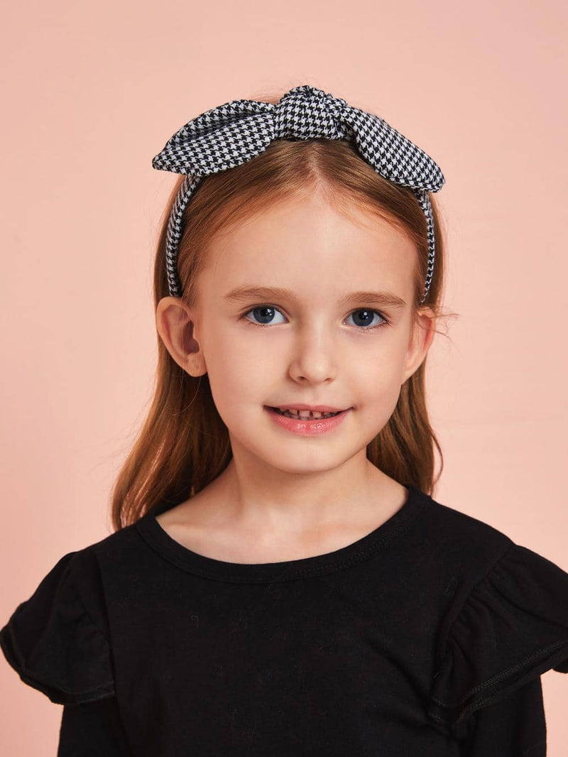 2pcs Girls Plaid & Houndstooth Pattern Headband