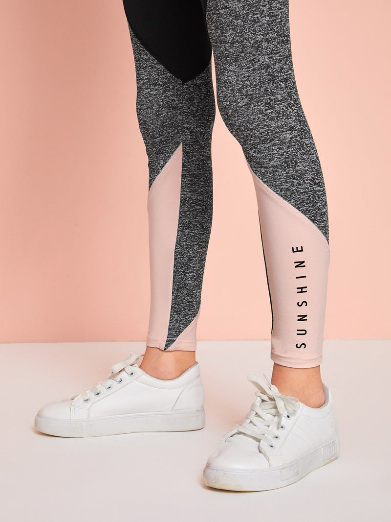 Girls Letter Graphic Colorblock Leggings