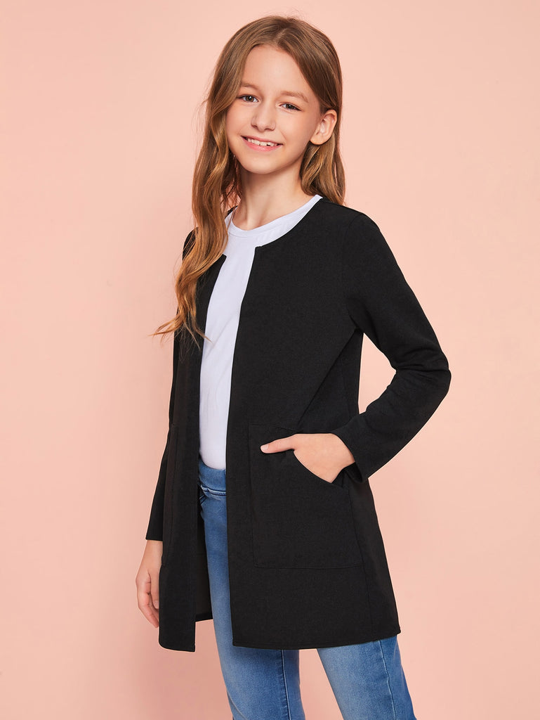 Girls Open Front Pocket Detail Coat