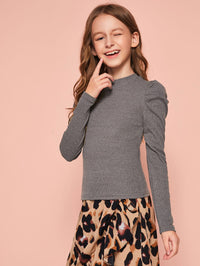 Girls Puff Sleeve Rib-knit Tee FD