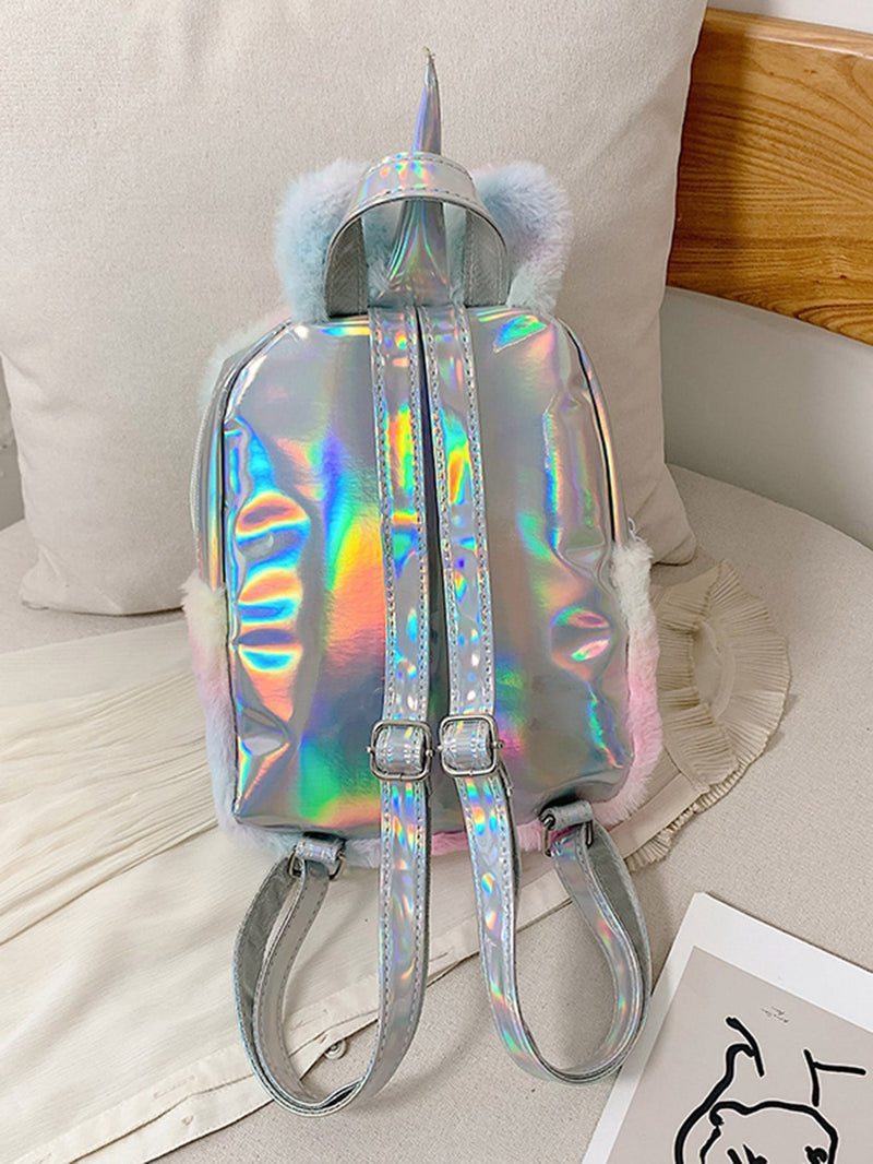 Girls Holographic Detail Fluffy Backpack