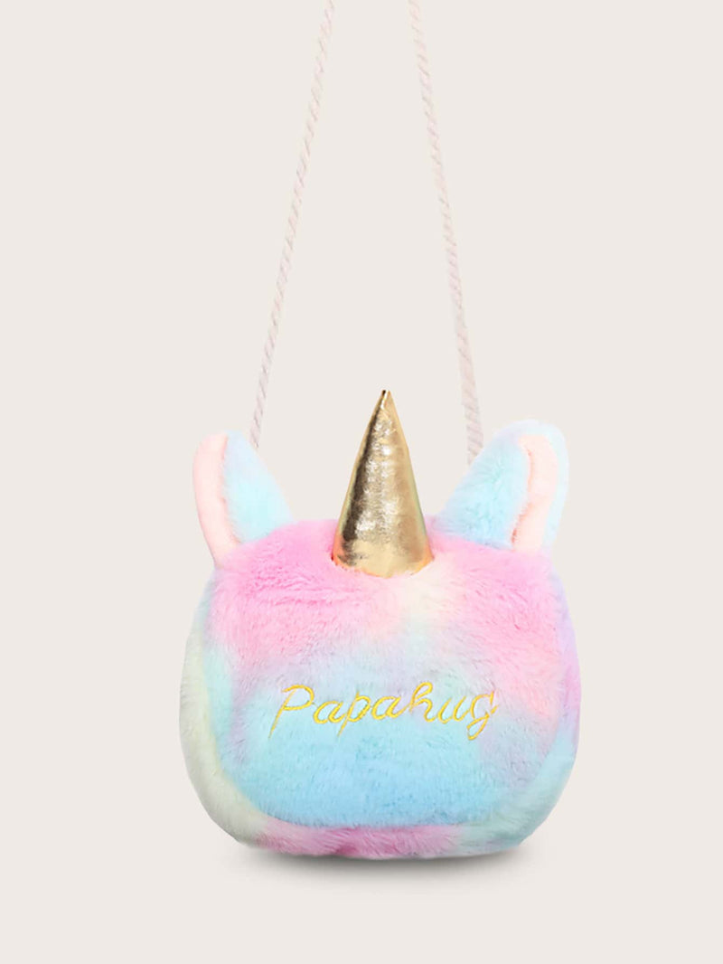 Girls Letter Embroidered Faux Fur Chain Bag