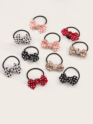 10pcs Toddler Girls Bow Knot Decor Hair Tie - FD