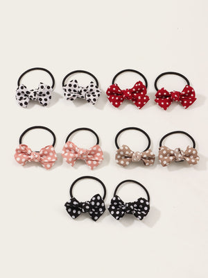 10pcs Toddler Girls Bow Knot Decor Hair Tie