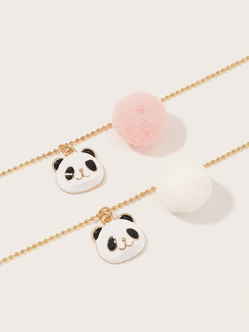 2pcs Girls Panda Decor Necklaces - FD