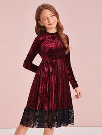 Girls Lace Hem Pleated Velvet Dress