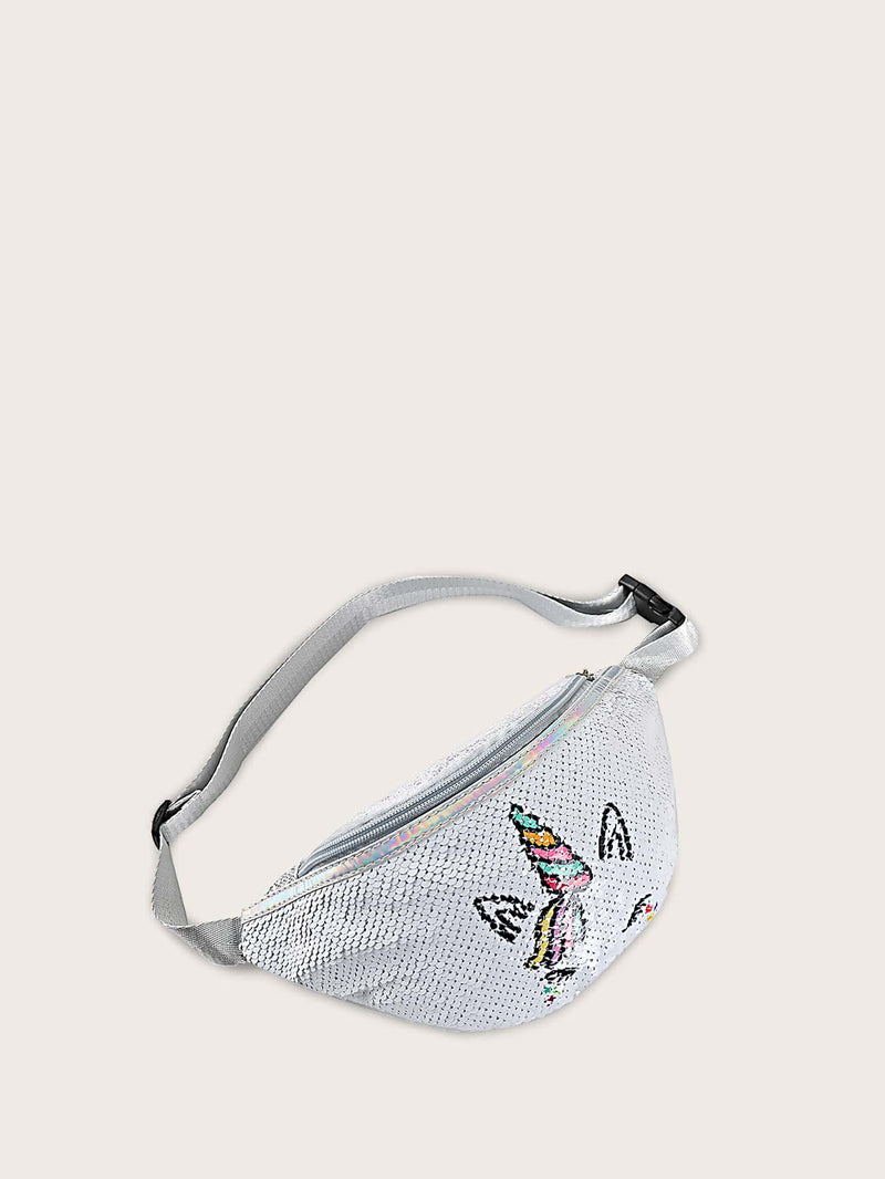 Girls Unicorn Embroidered Contrast Sequins Fanny Pack