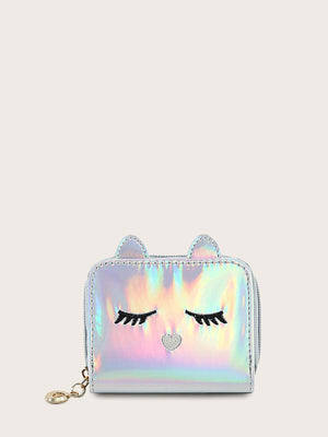 Girls Holographic Embroidered Detail Purse