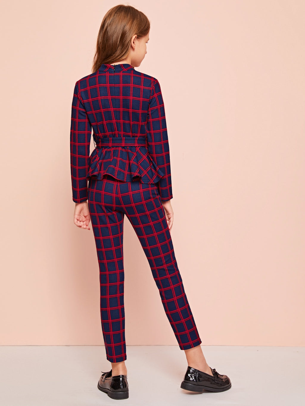 Girls Mock Neck Belted Plaid Peplum Top & Pants Set