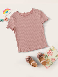 Girls Lettuce Trim Rib-knit Tee
