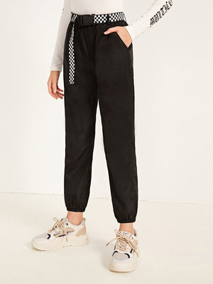 Girls Checked Buckle Belted Slant Pocket Wind Pants - FD