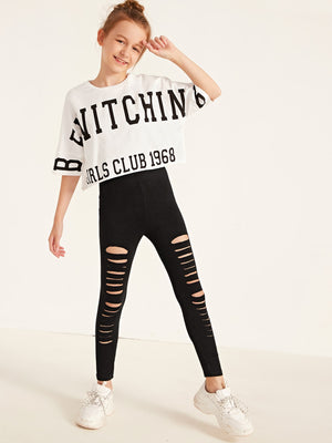 Girls Letter Graphic Tee & Ripped Leggings Set