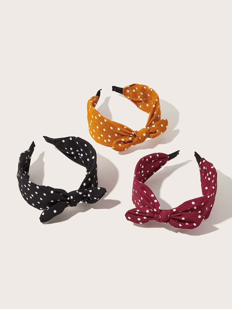 3pcs Girls Polka Dot Pattern Knot Decor Hair Hoop