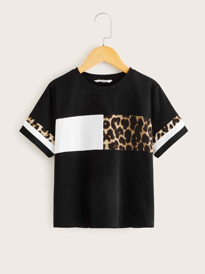 Girls Leopard Cut-and-sew Tee