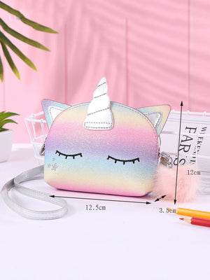 Girls Pom Pom Decor Unicorn Design Crossbody Bag