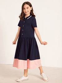 Girls Two Tone Buttoned Front Dress