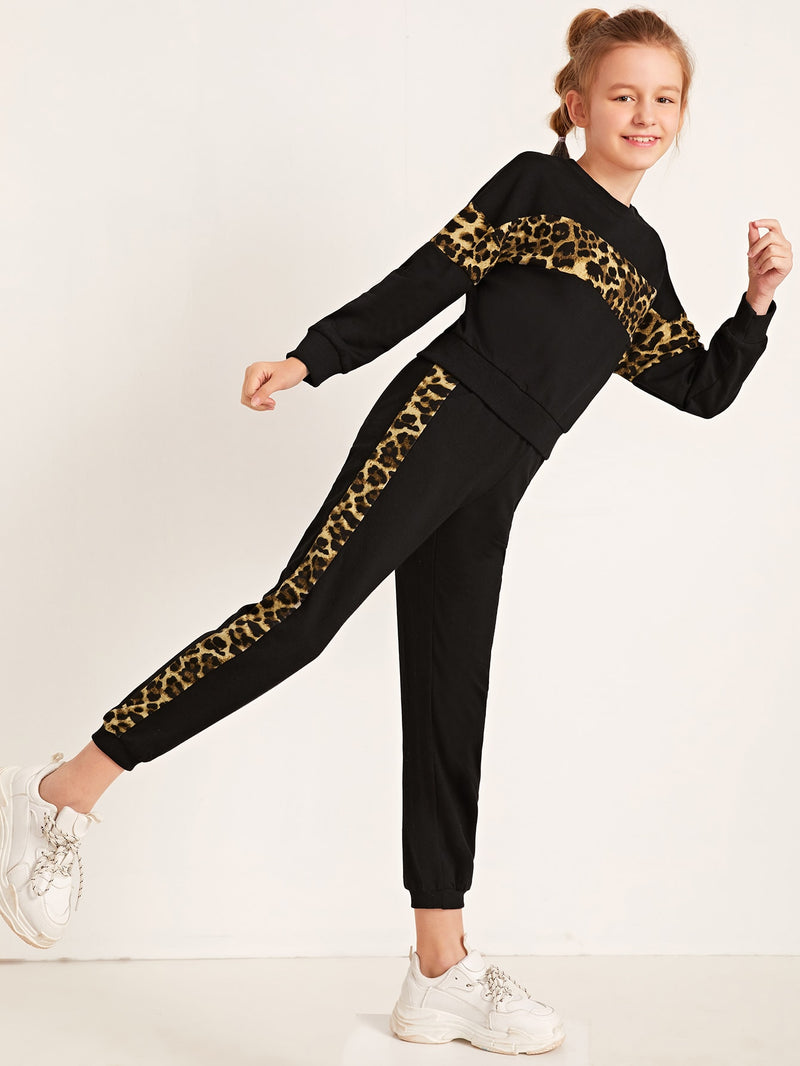 Girls Contrast Leopard Panel Pullover & Sweatpants Set FD