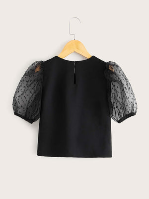 Girls Swiss Dot Mesh Sleeve Top