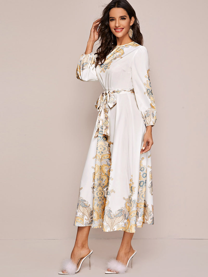 Lantern Sleeve Tribal Print Belted Dress