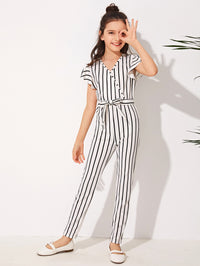 Girls Surplice Neck Self Belted Striped Jumpsuit