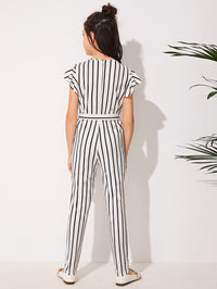 Girls Surplice Neck Self Belted Striped Jumpsuit - FD