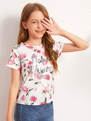 Girls Slogan Graphic Floral Print Tee - FD