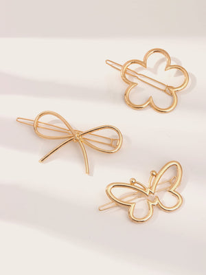 3pcs Girls Bow Knot & Butterfly Shaped Hair Clip