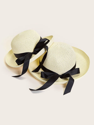 2pcs Girls Bow Knot Straw Hat