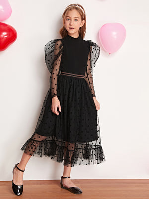 Girls Gigot Sleeve Top and Dobby Mesh Overlay Skirt Set - FD
