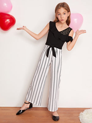 Girls Lace Detail Flounce Trim Belted Striped Jumpsuit