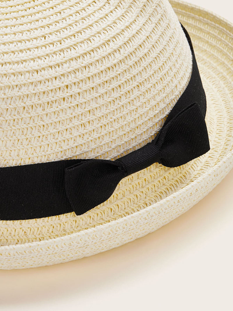 2pcs Girls Bow Knot Straw Hats