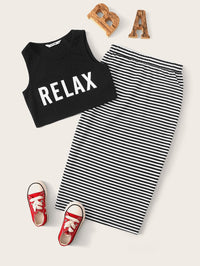 Girls Letter Graphic Tank Top & Striped Skirt Set